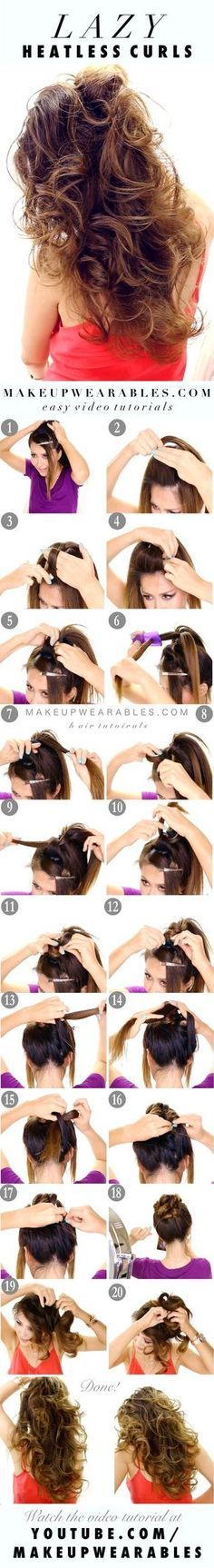 Easy lazy heatless curls overnight - no heat waves #hairstyles
