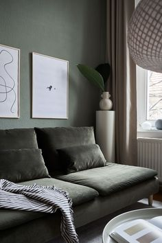 Moody greens in the home of featuring our popular Moss Green Simply Velvet and Kastell furniture legs on an IKEA Söderhamn sofa Söderhamn Sofa, Ikea Sofa, Living Room Paint, Living Room Sofa, Living Room Color Schemes, Living Room Designs, Ikea Soderhamn, Replacement Furniture Legs, Green Painted Walls
