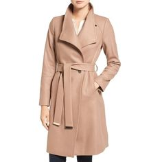 Women's Ted Baker London Wrap Coat ($549) ❤ liked on Polyvore featuring outerwear, coats, camel, camel coat, lapel coat, wrap coat, red coat and ted baker coat