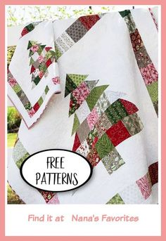 Christmas Tree Quilt Block Patterns, Charm Pack Quilt Patterns, Christmas Quilting Projects, Christmas Tree Pattern, Christmas Sewing, Quilt Patterns Free, Free Pattern, Simple Pattern, Diy Christmas Quilt