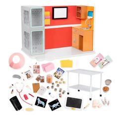 Includes: 1 vet clinic, 1 light box, 2 pet x-rays, 1 exam table, 1 pet scale, 1 kidney dish, 1 syringe, 1 thermometer, 1 stethoscope, 1 ear drop bottle, 1 pill bottle, 1 sponge, 2 elastic bandages, 1 pet cone, 3 dog food cans, 9 cat food cans, 1 milk bottle, 1 jar with treats, 1 pet food bowl, 1 pet water bowl, 2 bags of pet food, 2 boxes of dog treats, 3 pet shampoo bottles, 1 soap pump, 1 clipboard, 1 pen, 1 pad of 20 sheets of paper, 4 file folders, 1 pet magazine, 2 pet posters, 4 push…