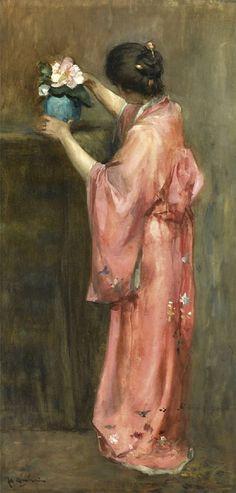 """Girl in a kimono arranging flowers"" (1909) By Floris Arntzenius (Dutch, 1864-1925) watercolor on paper; 62.5 x 30.5 cm © Sold through Sotheby's, Amsterdam. June 7, 2011 for 78,750 EUR - 115,050 USD 19th Century European Paintings - Lot 60 http://www.sothebys.com/en/ https://www.facebook.com/sothebys"