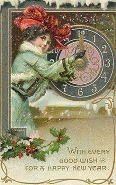 vintage New Year card illustration