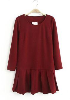 Wine Red Plain Draped Above Knee Knit Dress