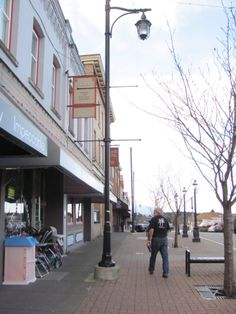 Ladysmith main street  -  wide sidewalks, lamp posts, angle parking, and an occasional human being.