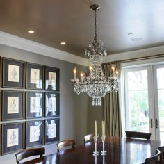 I love this look to create instant elegance to a formal dining room. Great for new construction homes. Dont forget the pearlescent ceiling paint. Plus it's easy to add crown molding if its missing in your room.
