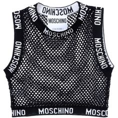 Moschino Sleeveless T-Shirt found on Polyvore featuring tops, t-shirts, black, crop top, sleeveless t shirt, cotton t shirt, sleeveless tshirts and black t shirt