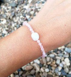 Rose quartz and moonstone bracelet, rose quartz crystal healing bracelet, gift for woman Cord Bracelets, Crystal Bracelets, Stretch Bracelets, Natural Crystals, Anklets, Fashion Bracelets, Bracelet Making, Rose Quartz, Gifts For Friends