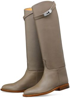 ~ HERMES TAUPE LEATHER KELLY JUMPING KNEE HIGH BOOTS (EQUESTRIAN LUXE!) ~ 37.5…