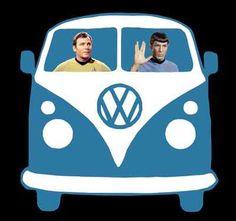 VW Kombi Van Star Trek Spock & Captain Kirk Funny T-Shirt S M L XL XXL XXXL
