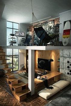 Eclectic Great Room with Columns, Sunken living room, Loft, High ceiling, Laminate floors, interior brick, Pendant Light