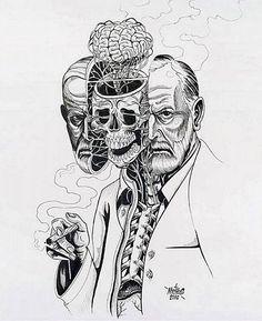"""LA VIDA… A PESAR DE TODO – ENTREVISTA A SIGMUND FREUD -   (...) """"El salvaje, como el animal, es cruel, pero no tiene la maldad del hombre civilizado. La maldad es la venganza del hombre contra la sociedad"""" - Sigmund Freud -   #SigmundFreud #psychoanalysis #popart #fanart #surreal #elartedeladistorsión #creemosenelasombro """"Morning Therapy"""" – NYCHOS©"""