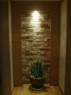 Another example of end of hallway to pantry treatment idea Stone Front House, House Front, House Furniture Design, House Design, Living Room Designs, Living Room Decor, Home Entrance Decor, Home Decor, Niche Design