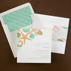 Starfish wedding invitations a starfish and sea shells exhibit a seashore theme on this invitation card. Maybe perfect for your beach wedding theme.