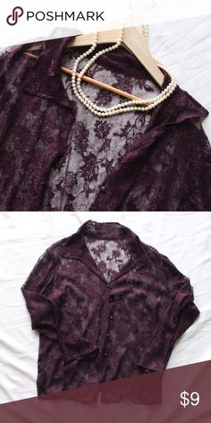 Sheer Plum Lace Button Up This vintagey, see-through top is perfect for fall - long sleeves, a gorgeous deep purple color, and lace that's both sophisticated and sexy. Use it as a light cardigan-style sweater in the office (or tuck it into a skirt), and throw it on over an LBD for a night about. Marked a 1X, so feel free to ask for measurements! Tops Button Down Shirts