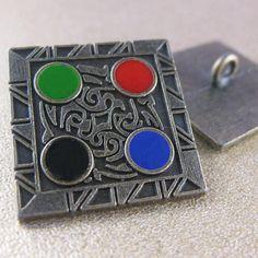 Hieroglyphic Button. Gunmetal. 25mm / 40 by JosyroseHaberdashery, £2.45