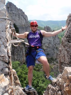 Climber on the Via Ferrata at NROCKS Outdoor Adventures, located in Pendleton County, West Virginia.