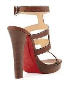 Christian Louboutin Cardamona Ankle-Wrap Red Sole Sandal, Cognac - Neiman Marcus