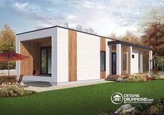 Vue avant Micro maison moderne de 631 pi. carré,plafond 9', 2 à 3 chambres, terrain étroit, toiture végétale si désiré - Ariel