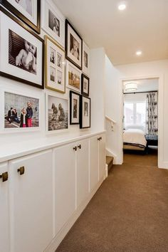 Make the most of your hallway l Design idea: Add wall-mounted cabinets l Transitional Hall by Maison Fine Homes & Interior Design Hallway Cupboards, Hallway Cabinet, Wall Cabinets, Karton Design, Hall Cupboard, Upstairs Hallway, Hallway Closet, Hallway Furniture, Modern Furniture