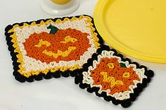 Ravelry: Wiggly Jack-O-Lantern Hot Pad and Coaster pattern by Susan Lowman Crochet Thread Size 10, Crochet Hook Sizes, Crochet Chart, Crochet Motif, Crochet Designs, Crochet Afghans, Crochet Granny, Crochet Doilies, Crochet World