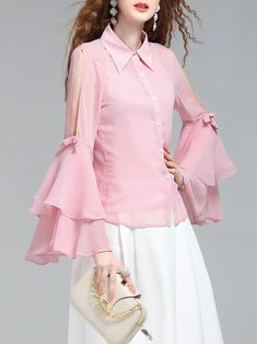 Girly Solid Ruffled Cutout Frill Sleeve Bow Blouse