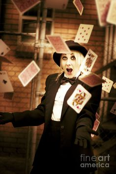 Casino Gaming Cards Free Fall From The Hands Of A Magician In A Magic Cards Trick by Ryan Jorgensen