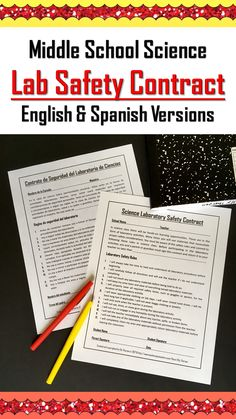 science, laboratory safety, safety contract, Spanish version, middle school, elementary school