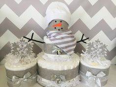 SET OF 3 Baby It's Cold Outside Diaper Cakes, Neutral Winter Theme Baby Shower Centerpieces by AllDiaperCakes on Etsy https://www.etsy.com/listing/491070725/set-of-3-baby-its-cold-outside-diaper
