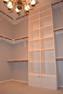 Our Love and Our Blessing: in love with our Closet post. Love the third rod near the ceiling. Would be great for out of season items. Dream Closet Design, Closet Makeover, Home, Closet Designs, Remodel Bedroom, No Closet Solutions, Simple Closet, Kitchen Bathroom Remodel, Closet Layout