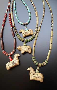 Ancient Horse and Cave Bear Necklaces, handmade artifacts, with handmade beads and antique trade beads and turquoise by Luann Udell polymer clay ~  x