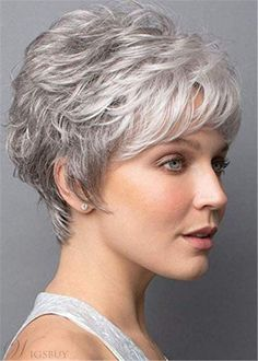 Do you like your wavy hair and do not change it for anything? But it's not always easy to put your curls in value … Need some hairstyle ideas to magnify your wavy hair? Grey Hair Wig, Short Grey Hair, Short Hair With Layers, Short Hair Cuts For Women, Short Hairstyles For Women, Wig Hairstyles, Wavy Hair, Teenage Hairstyles, Hairstyles 2016