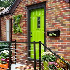 Take note here of the subtle green undertones in the brick patterning; that color cue was pushed to the edge of the bright and light spectrum with a bold lime green door and accents: http://www.bhg.com/home-improvement/door/exterior/exterior-door-ideas/?socsrc=bhgpin050514popofcolor&page=1