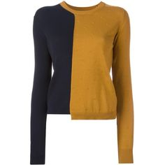 Maison Margiela asymmetric colour block jumper ($530) ❤ liked on Polyvore featuring tops, sweaters, brown, jumper top, long sleeve asymmetric top, brown sweater, brown top and maison margiela