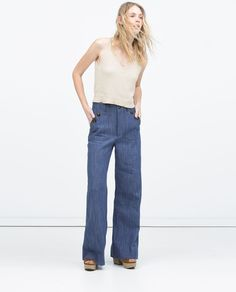 WIJDE DENIM BROEK MET HOGE TAILLE-Hoge taille-Jeans-DAMES | ZARA Nederland