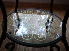 Metallic Leaf Glass Table