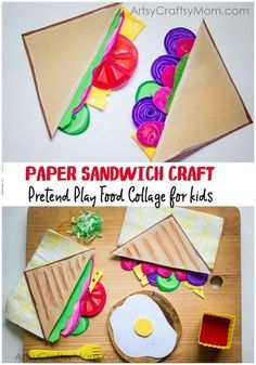 Pretend Play Food Collage Paper Sandwich Craft for Kids is part of DIY Book Crafts For Kids - Add to your pretend play food collection with our Paper Sandwich Craft for Kids a bright and colorful paper version of the universal kiddie favorite! Paper Crafts For Kids, Diy Paper, Projects For Kids, Paper Art, Art Projects, Arts And Crafts, Preschool Food Crafts, Craft Activities, Gouts Et Couleurs