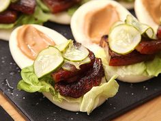 Sous Vide Pork Belly Buns With Pork Braise Mayonnaise and Quick-Pickled Cucumbers Recipe Pork Belly Marinade, Pork Belly Bao, Braised Pork Belly, Mayonnaise, Sous Vide Pork, Appetizer Recipes, Appetizers, Come Dine With Me, Pork Belly Recipes