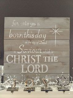 DIY sign for above the mantel to remember what Christmas is really about.