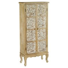 Store your media collection or hardback books in this storage cabinet. Featuring floral patterned doors and a natural distressed finish, it is equally at hom...