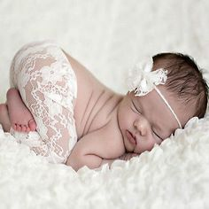 Newborn Baby Girls Lace Pants With Lace Headwear Boys Trousers Photo Costume