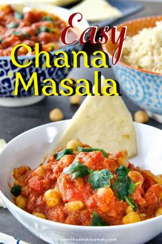 Budget-friendly, vegan and gluten-free, this EASY CHANA MASALA takes under 30 mintues! Faster than pizza delivery. Great for leftovers and easy freezer meals. #chanamasala #vegan #chickpeacurry #chickpearecipes