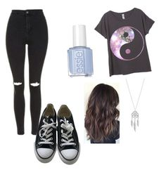 """""""Effortless"""" by perfectjackbgg ❤ liked on Polyvore featuring Topshop, Converse and Lucky Brand"""