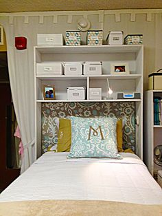 Directions and photos for building an over the bed dorm room cubby for college. Great for adding extra storage!