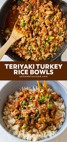 turkey recipes Teriyaki Turkey Rice Bowl have ground turkey simmered in a sweet teriyaki sauce, with loads of veggies on top of a bowl or steam white or brown rice. Perfect for weeknight dinner or meal planning. Healthy Turkey Recipes, Minced Turkey Recipes, Healthy Delicious Recipes, Best Healthy Dinner Recipes, Tasty, Healthy Eating, Dinner Healthy, Healthy Ground Turkey Dinner, Recipes With Ground Turkey
