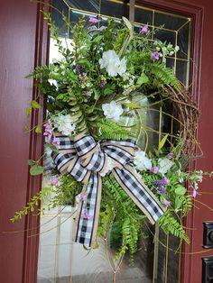 Hydrangea Wreath, Greenery Wreath, Grapevine Wreath, Wreaths, Year Round Wreath, Different Tones, Summer Wreath, White Hydrangeas, Grape Vines