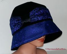 Tailored Cloche Hat from ny Etsy Shop. Black Velvet with Darkblue Brocade. Love to work with this high Quality Materials. See you on https://www.etsy.com/shop/MermaidsHatbox