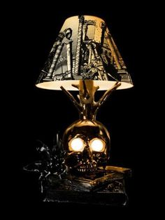 Skull table lamp complete with unique skull glass bottles Perfect for or someone who loves skull decor in general ALL OF OUR ITEMS ARE PROUDLY MADE IN THE U.S.A.!!!