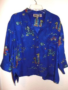 ❤ Chico's Design 100% Silk Blouse Size 2 M-L Asian Style 3/4 sleeves Blue #Chicos #Blouse #Career