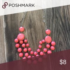 Coral Beaded Necklace Cute coral bubble necklace Charming Charlie Jewelry Necklaces